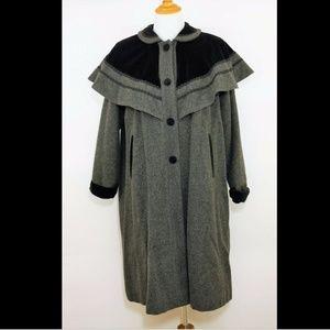 ROTHSCHILD Gray & black wool trench coat jacket